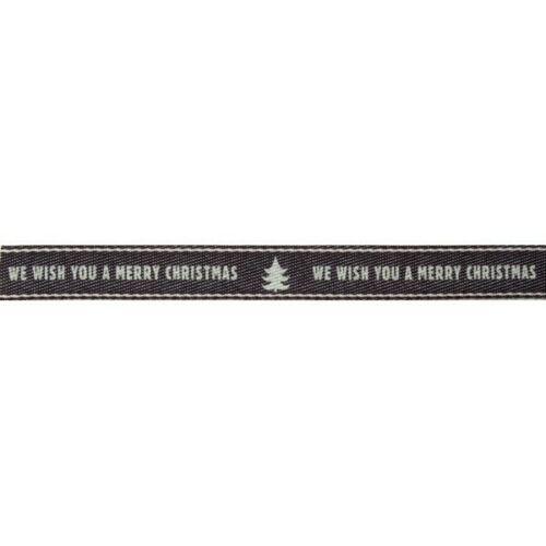 10mm Ancho-Blanco-Por Metro Berisfords Feliz Navidad Cinta