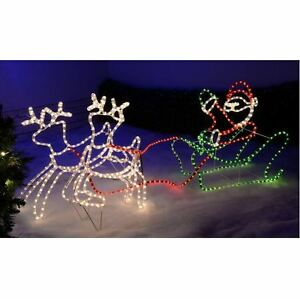 Christmas reindeer lights outdoor santas sleigh led rope for 18 lighted christmas tree with stars window silhouette decoration