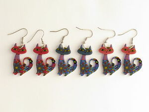 Animal-Lovers-Earrings-Cat-Piercing-Gift-Red-Blue-amp-Pink