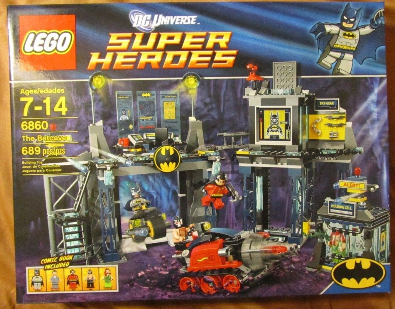 LEGO 6860 THE BATCAVE 689 Pieces ~ Retirosso Set ~ Bruce Wayne, Robin, Ivy, Bane +
