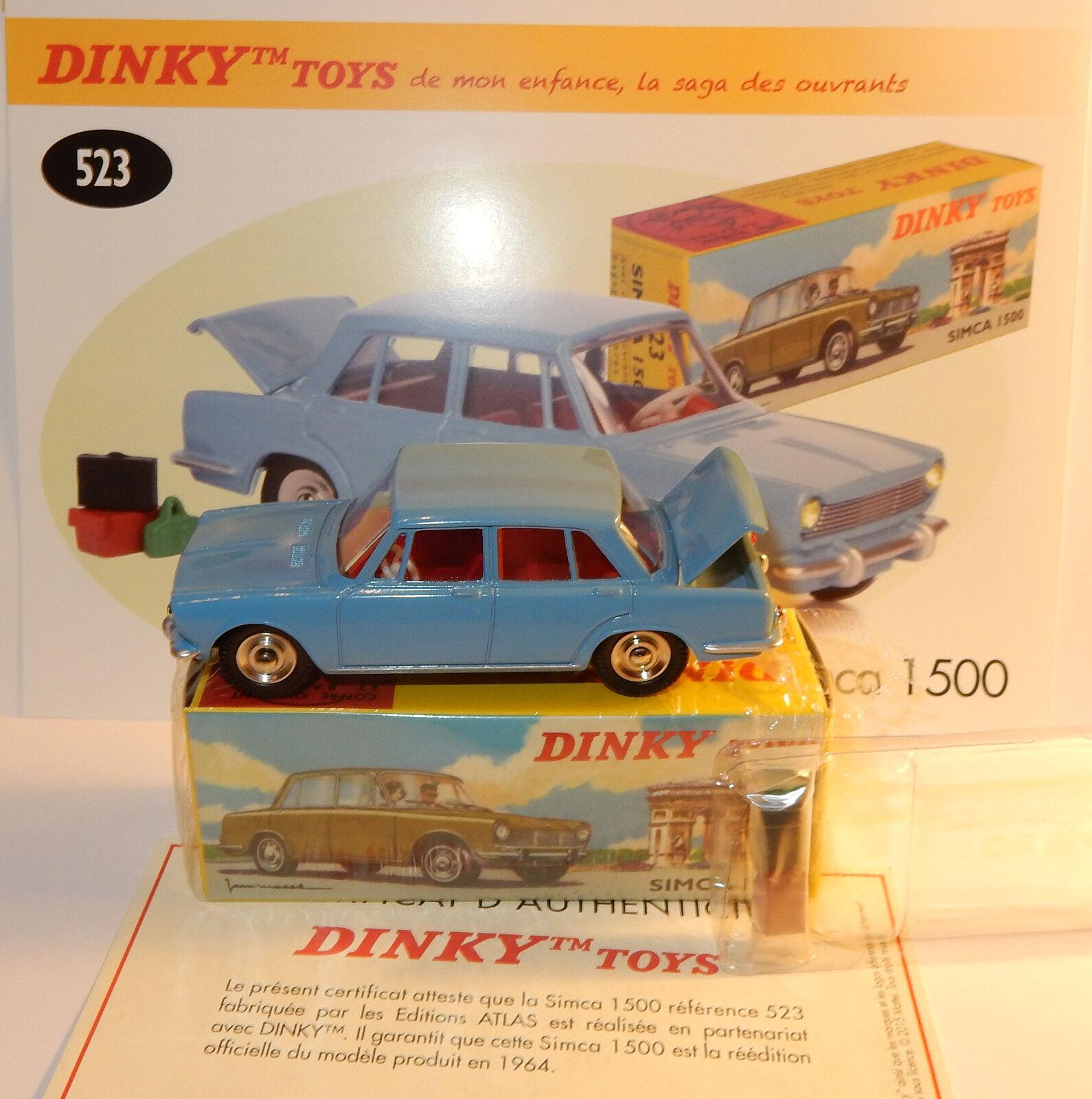 DINKY TOYS ATLAS SIMCA 1500 blu CLARO con EQUIPAJE 1 43 REF 523 EN BOX 1