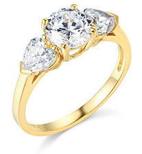 1.95 Ct Round & Heart Real 14K Yellow Gold 3 Three Stone Engagement Wedding Ring