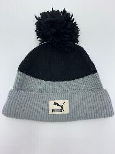PUMA-Cuff-Beanie-Toque-Winter-Hat-One-SizePOM-POM-Black-And-Gray-Cat-Logo-Cuffed