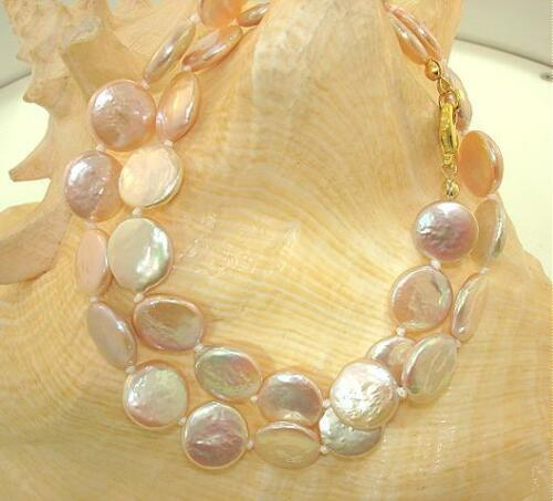 """Color Variety Bead-Nucleated Freshwater Cultured Coin Pearls Necklace 16/""""-18/"""""""