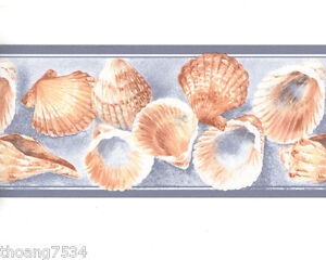 Image Is Loading Blue Sea Shell Seashell Bathroom Wall Paper Wallpaper