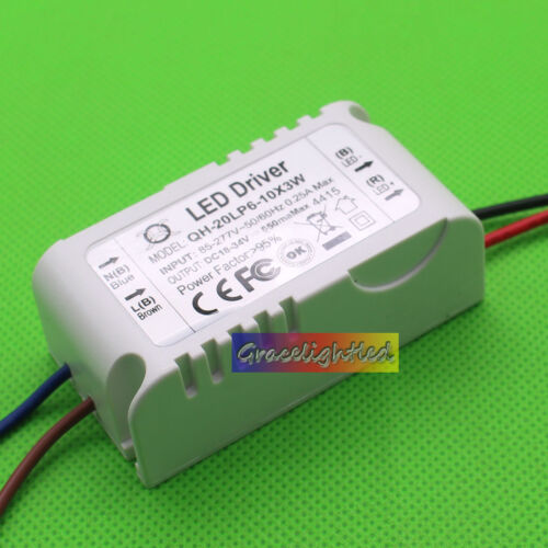 1pcs 6-10x3 W Watt High Power LED Light lamp Driver Power Supply 85-265V 600mA