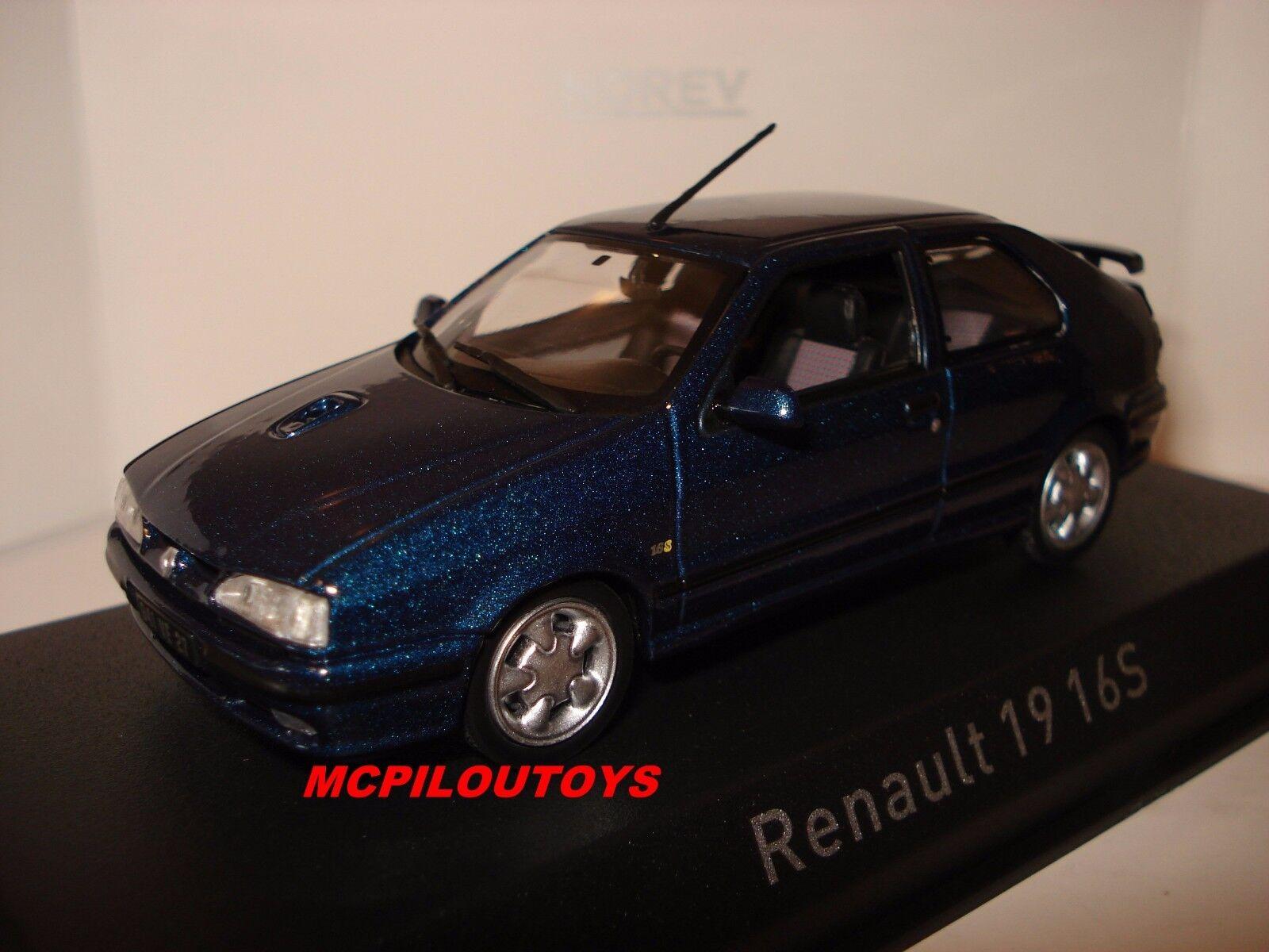 NOREV RENAULT 19 16S SPORT bleu 1992 au 1 43°