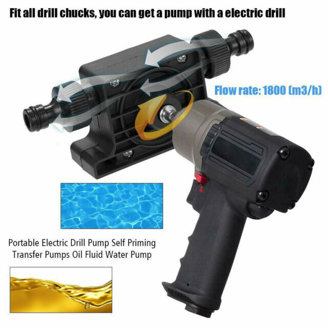 Priming Transfer Pump Oil Fluid Water Pump Drill Electric Powered Drill Pump Self Priming Oil Fluid Water Transfer Pumps Tool