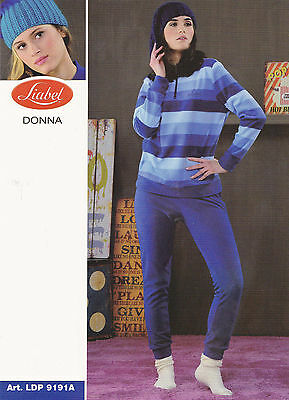 Ldp9191a Blue And Rust Woman Long Outline Liabel Pajamas Hot Fleece