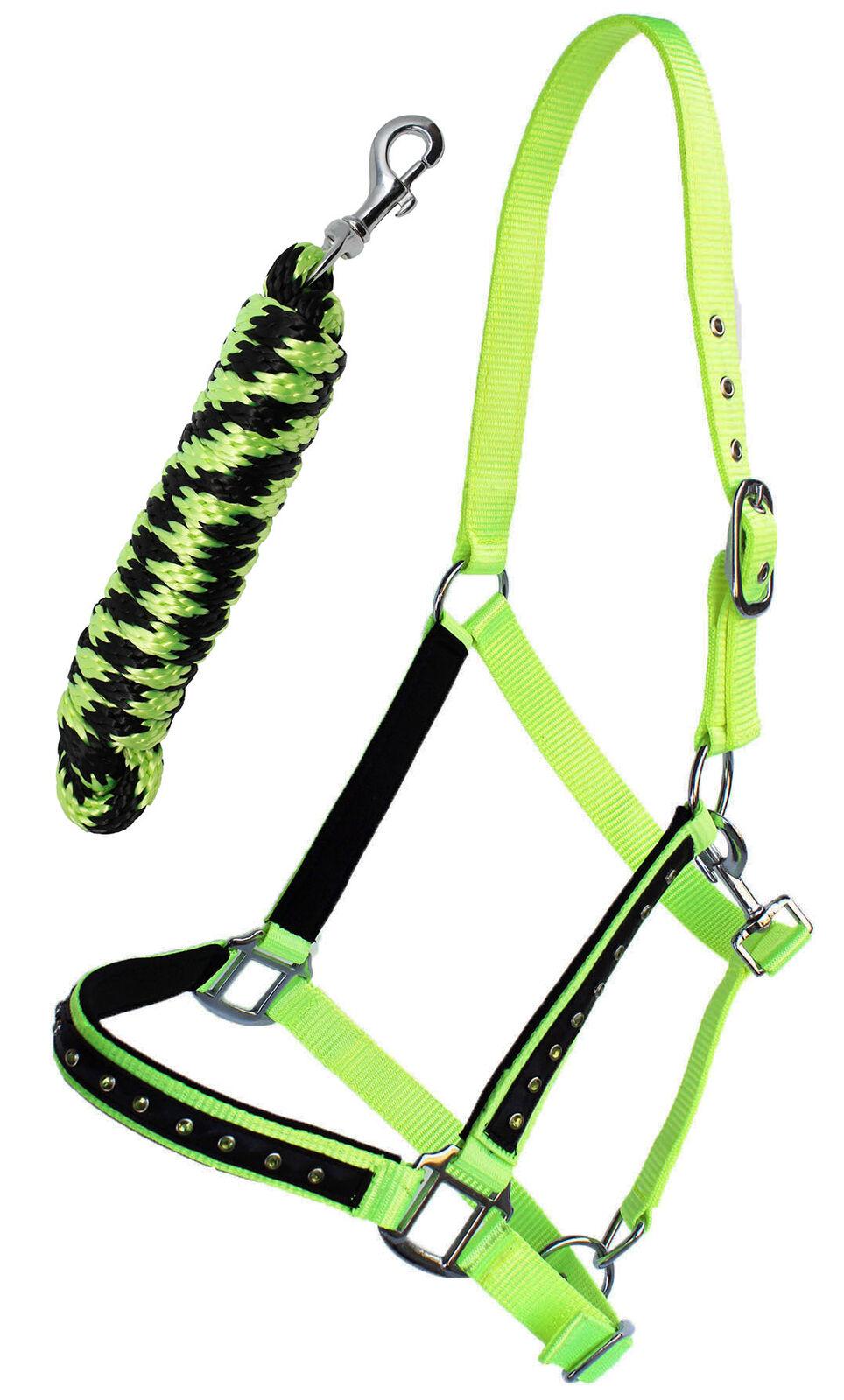 Nylon Horse Tack Nylon Padded Halter Yellow Rhinestones w// Lead Rope 606162