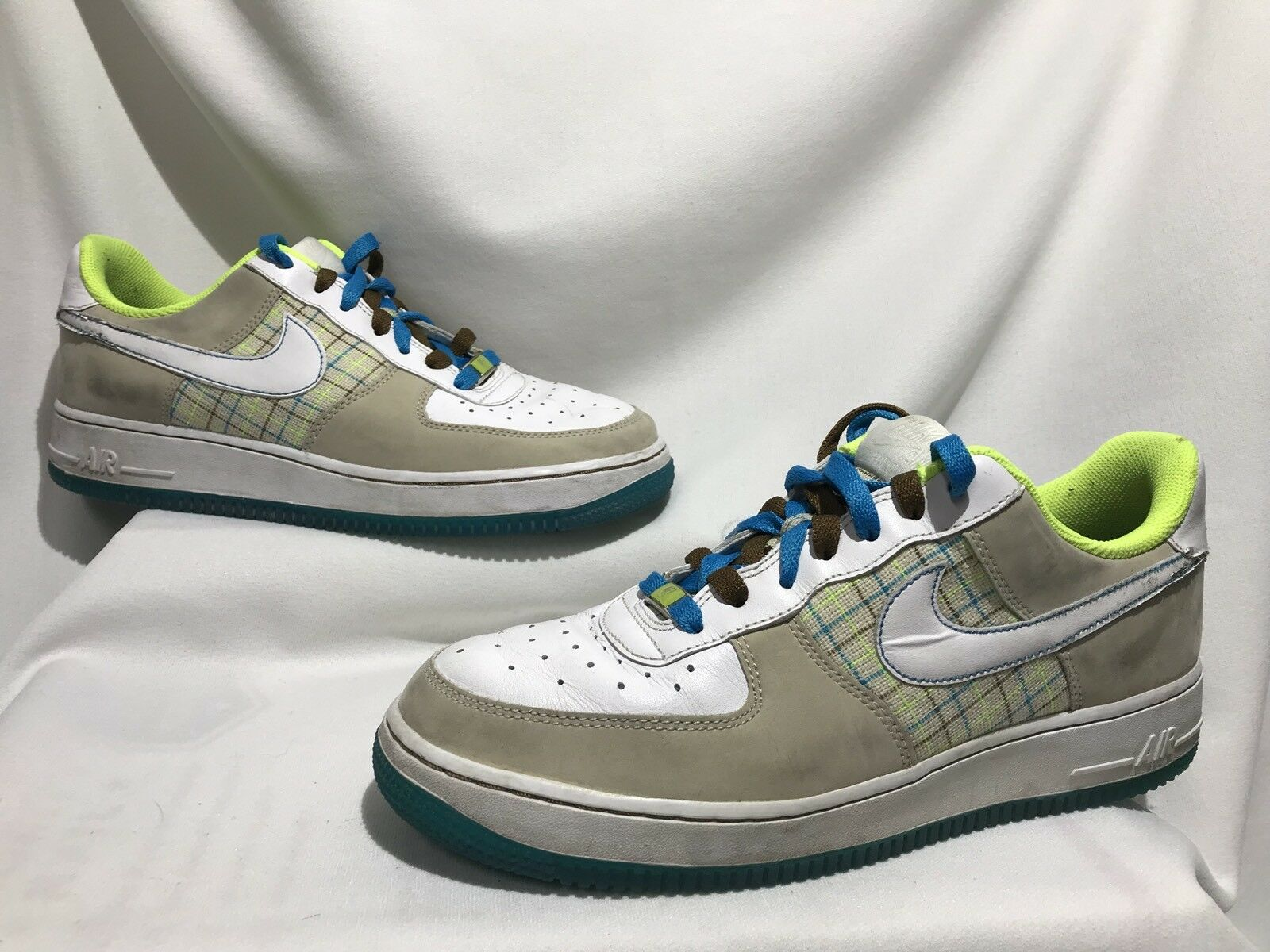 hot sale online b804f c85cd Men Size 9.5 Nike Air Force XXV White Plaid Plaid Plaid Green Blue Brown  Shoes 315115 A0303 e41e59
