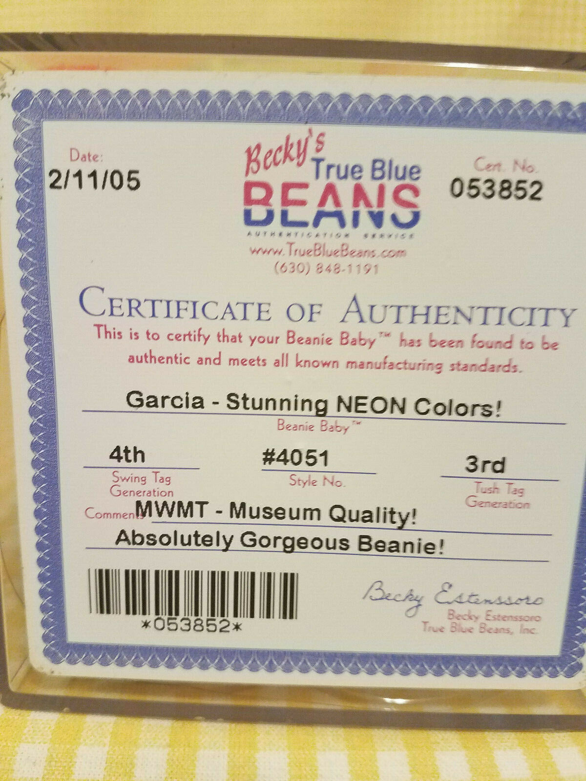 Ty Beanie Beanie Beanie Baby Authenticated Garcia NEON  4th 3rd tush tag MWMT Museum Quality 8380d2