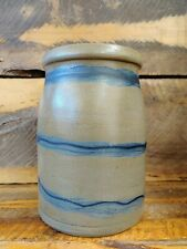 ANTIQUE PRIMITIVE BLUE COBALT DECORATED STONEWARE  CROCK STRIPER- PA. VERY NICE.