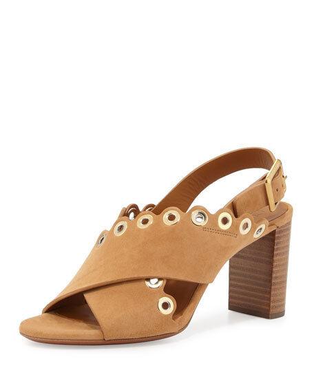 Chloe Eyelet-Studded Suede Sandal, Angora Beige Taille 40.5