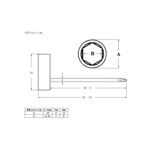 6.35mm Silber 3PCS Long Handle Guitar Truss Rod Schraubenschlüssel 7//8