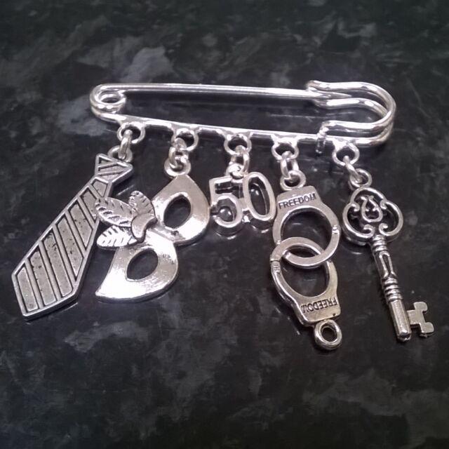 50 Shades of Grey inspired kilt pin brooch, handbag bag charm party - handmade