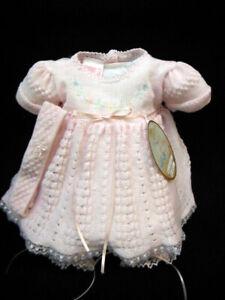 NWT-Will-039-beth-Pink-Knit-Lace-Dress-3pc-Preemie-Newborn-Headband-Baby-Girls