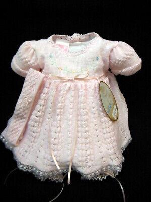 NWT Will/'beth White Knit Ribbon Girls Dress 3pc Set Newborn Headband /& Bloomers