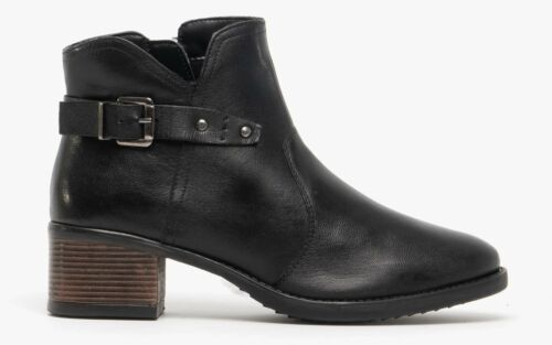Lotus TAPTI Ladies Womens Smooth Supple Genuine Leather Zip-Up Ankle Boots Black