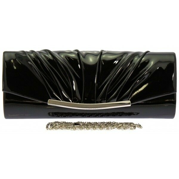 NEW PATENT WEDDING LADIES PARTY PROM EVENING CLUTCH HAND BAG PURSE