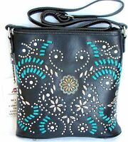 Montana West American Bling Concealed Carry Cross Body Bag Black