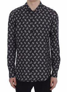Nouveau $720 Dolce & Gabbana Chemise Pyjama Motif Fleuri Noir Soie Sleepwear S. It5/us M-afficher Le Titre D'origine
