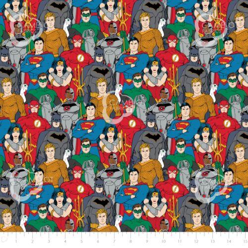 Superman Batman Mujer Maravilla de 23421206 100/% algodón. Tela de Liga de la Justicia
