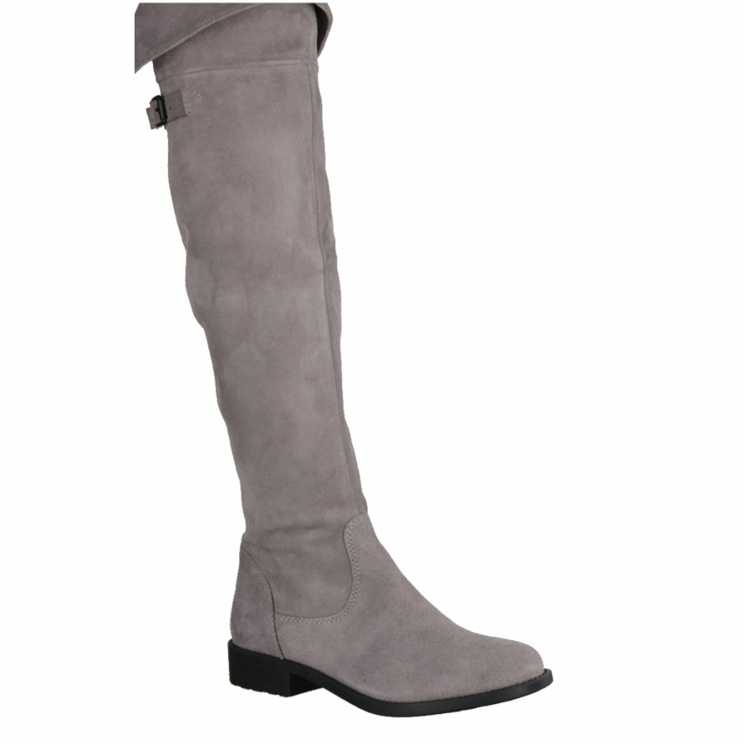 Tamaris 25811 grau Leather Suede Over The Knee Riding Side Zip Up Stiefel  SALE