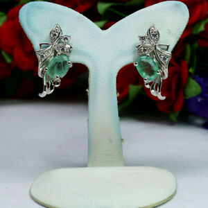 NATURAL-5-X-7-mm-GREEN-EMERALD-amp-WHITE-CZ-EARRINGS-925-STELRING-SILVER
