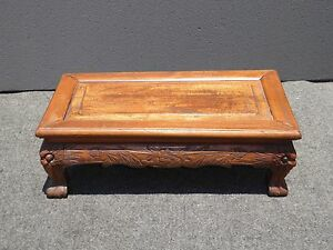 Vintage-Antique-Rustic-Asian-Ornately-Carved-Wood-Footstool-Alter-Stand