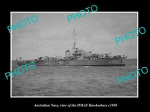 OLD-LARGE-HISTORIC-PHOTO-OF-AUSTRALIAN-NAVY-SHIP-HMAS-HAWKESBURY-c1950