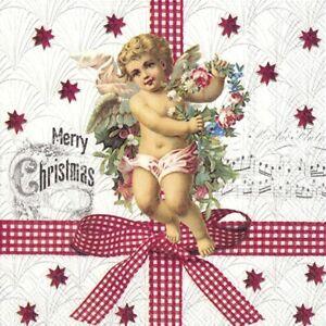 20-Servietten-034-NOSTALGIC-ANGEL-034-33x33-Napkins-Engel-Weihnachten-Schrift-Muster
