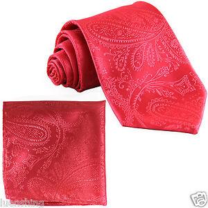 New Men's Polyester Woven Neck Tie necktie & hankie set paisley coral wedding