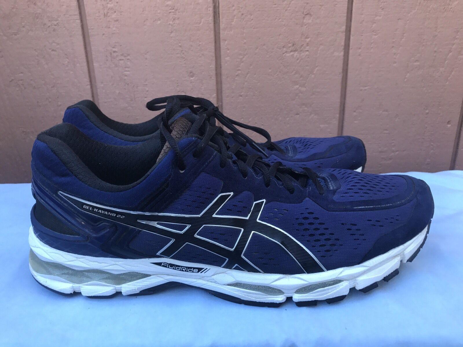 Excelente condición usada para hombre ASICS GEL KAYANO 22 Running Zapatos Talla EE. UU. 12.5 Azul Marino T547N