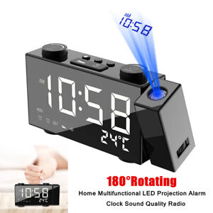180°Rotating Multifunctional LED Projection Alarm Clock Sound Quality Radio Tool