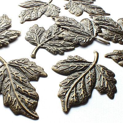 10 Antique Silver Tibetan Metal LEAF Leaves Kit Charms Pendants Beads Craft Card