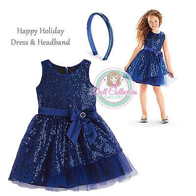 American Girl Cl My Ag Set Happy Holiday Kleid & Stirnband Blau Size 12 Mädchen