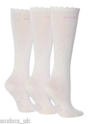 27-30.5 Eur 3 Pairs Girls Elle Over The Knee Socks White Size 9-12 Uk
