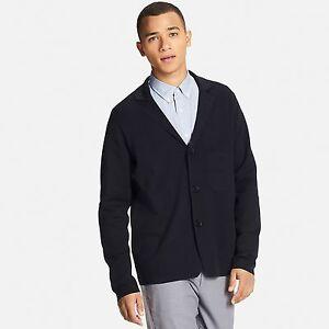 UNIQLO Men's Milano Knit Ribbed Cardigan Sweater / Jacket M NVY ...