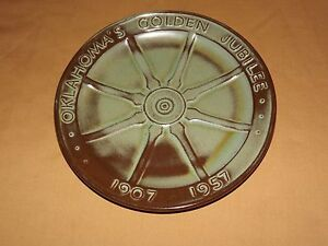 "VINTAGE 1907 1957 OKLAHOMA GOLDEN JUBILEE 9"" CERAMIC SOUVENIR PLATE"