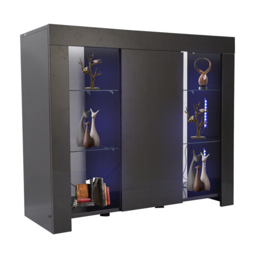 LED Light Modern Cabinet Cupboard sideboard TV Unit Matt Body/&High Gloss Doors