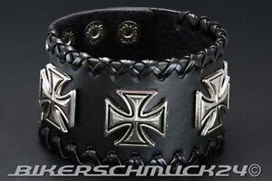 Biker-Schmuck-Eiserne-Kreuze-Leder-Nieten-Armband-mit-Applikationen-Geschenk-NEU