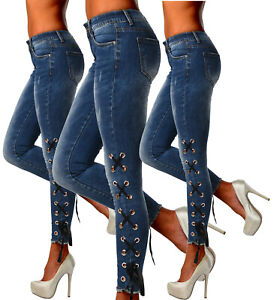Sexy-Stretchy-Women-039-s-Blue-Jeans-Trousers-With-Side-Lace-Skinny-Slim-E-382