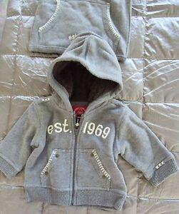 Nwt Baby Gap 2 Piece Sherpa Lined Hood 1969 Gray Hoodie