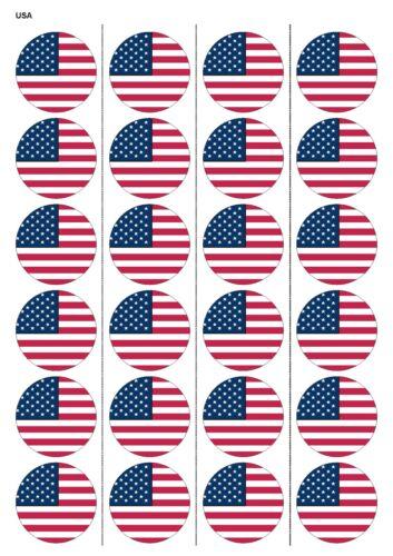 24x prédécoupées USA Drapeau Anniversaire Comestibles Papier de gaufrette cupcake gâteau Toppers 1237