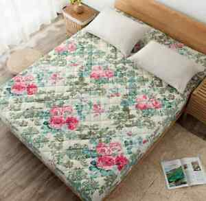 Floral Soft Double Queen King Mattress Thick Cotton Clip Easy Fit Fitted Sheet O