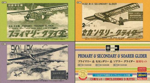 Hasegawa 1//50 /& 1//60 Primary /& Secondary /& Soarer Glider 3 kits in 1 box # SP3