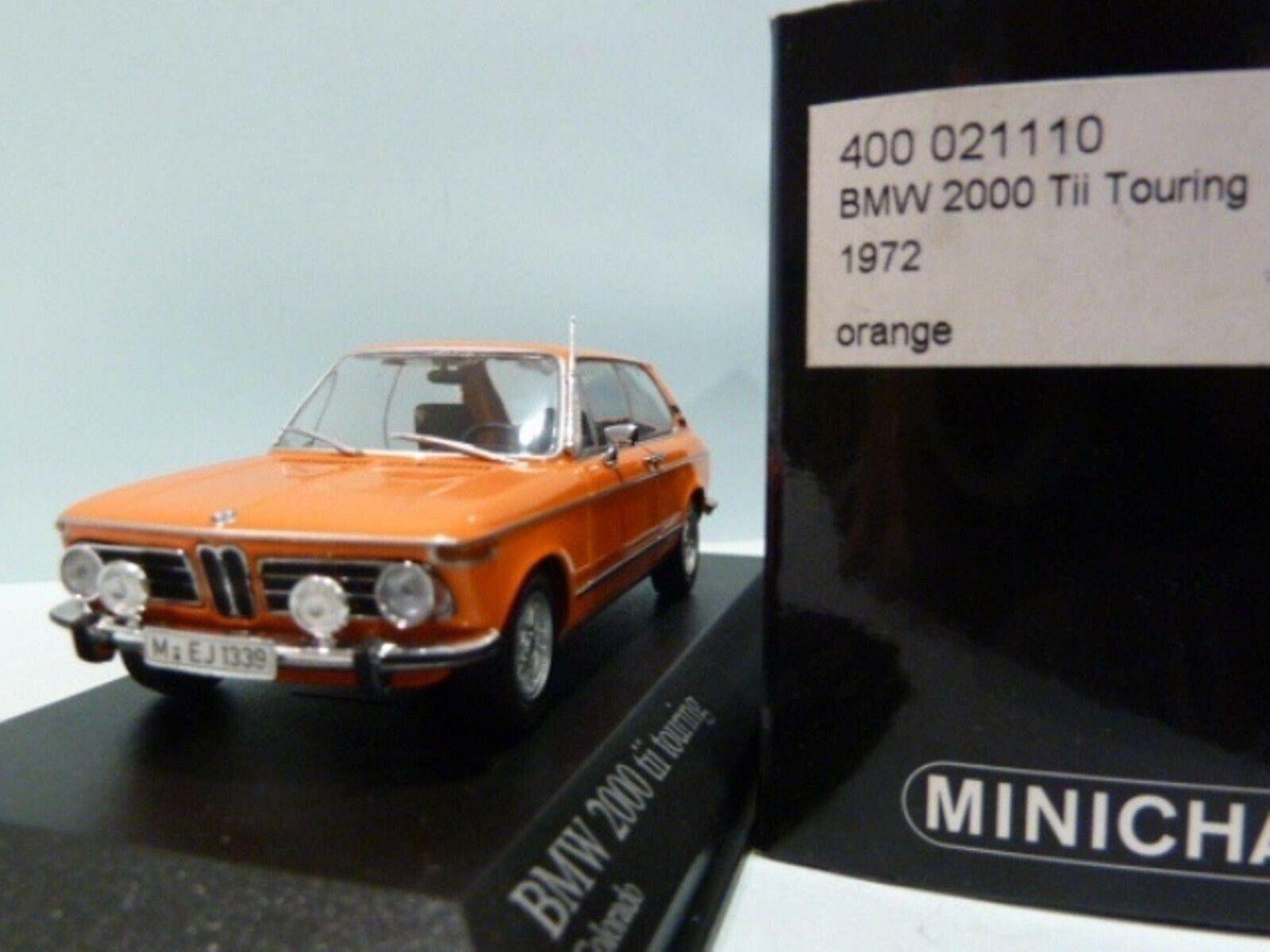 Wow extrêmeHommest rare BMW 2000  tii TOUbague E6 1972 Orange 1 43 Minichamps-E9 E24  expédition rapide