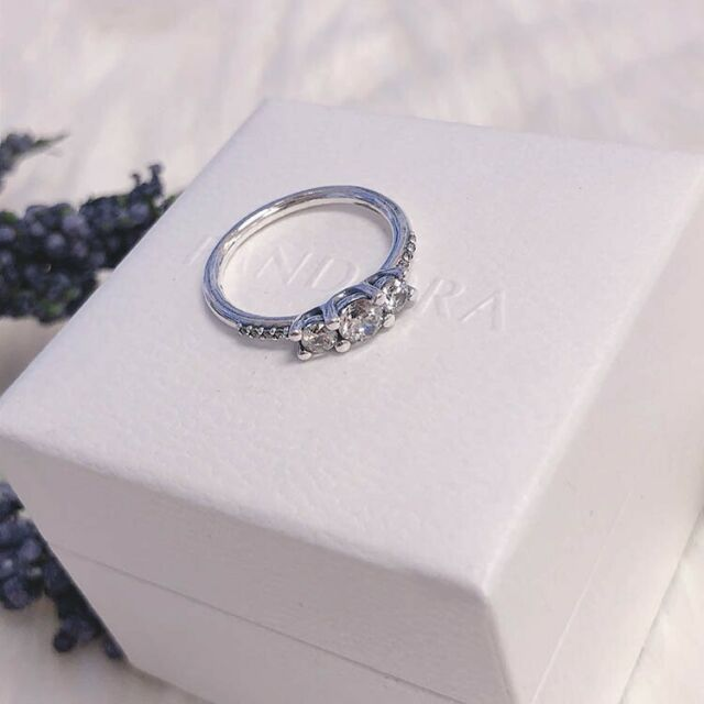 41d2f7be88c06 Valentines Day Gift PANDORA Fairytale Sparkle CZ Band Ring 196242cz Stack  52cm 6