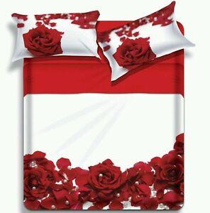 Lenzuola Matrimoniali Con Rose Rosse.Dettagli Su Lenzuola Matrimoniale Rosa Rossa Camera Da Letto Biancaluna Miss Terry Fleur